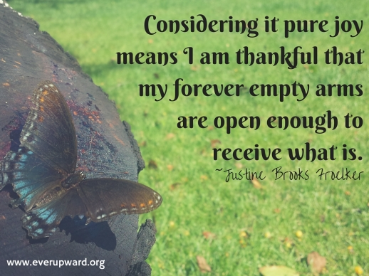 Considering it pure joy means I am thankful