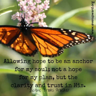 Allowing hope to be an anchor for my soul,